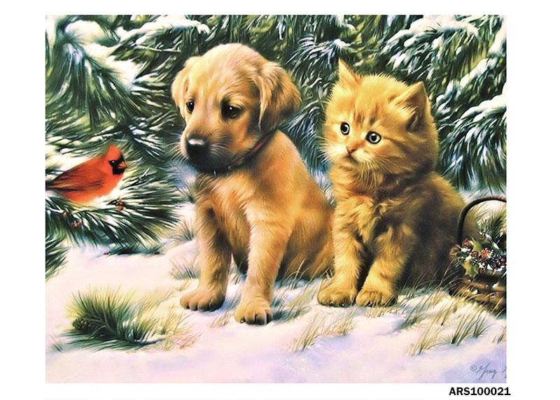 рисовая бумага для декупажа Новый год Щенок, котенок и птичка