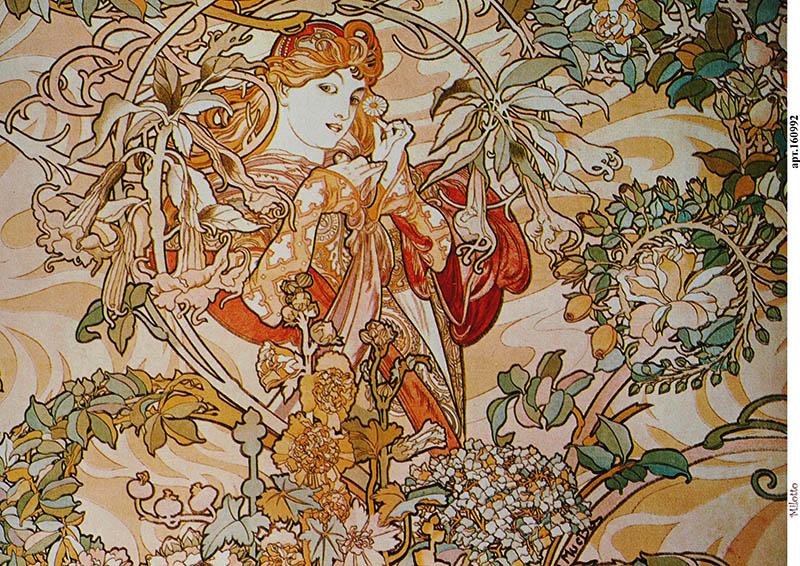рисовая бумага для декупажа Женщина с цветами, Альфонс Муха