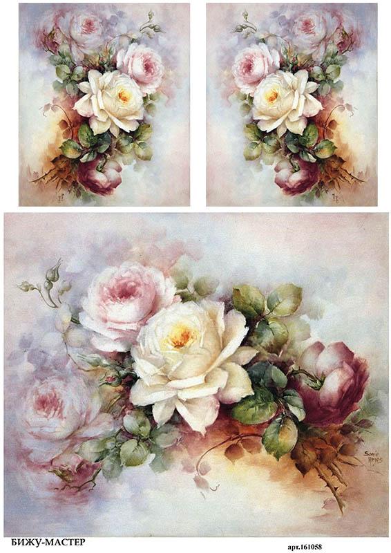рисовая бумага для декупажа Кремовые розы Sonie Ames