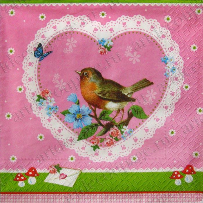 Салфетки для декупажа, Птичка, кружевное сердце, новинка, купить