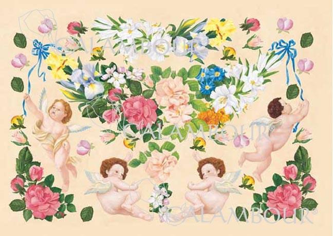 Декупажная карта Calambour CAL 19 Ангелы и цветы