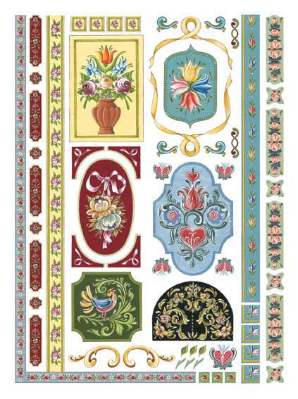 Декупажные карты Calambour CAL 102 Тирольские орнаменты, бумага для декупажа Каламбур