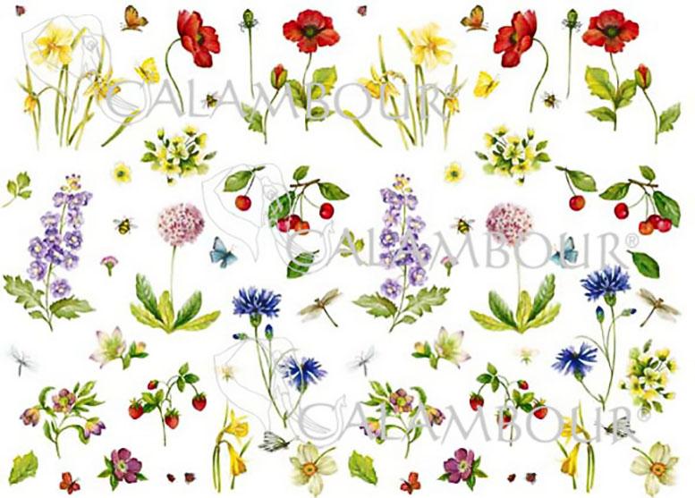 Декупажная карта Calambour CAL 232 Цветы, ягоды и стрекозы