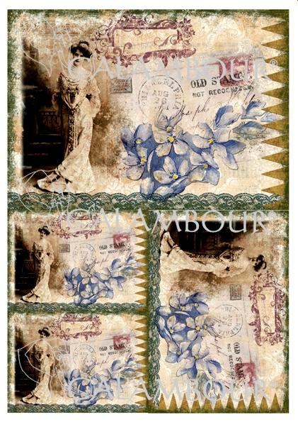 Рисовая бумага для декупажа винтажная Calambou DGR 102, Леди, цветы, штампы, купить - магазин АртДекупаж