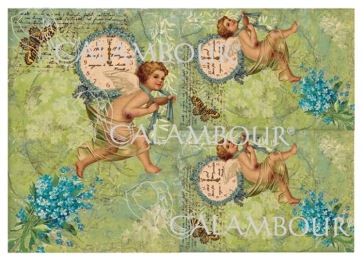 Рисовая бумага для декупажа Calambour DGR 118, Ангелы с часами, купить - магазин АртДекупаж