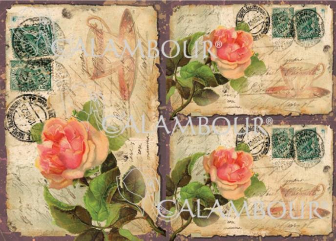 Рисовая бумага для декупажа Calambour DGR 123, Старая открытка с розами, купить - магазин АртДекупаж