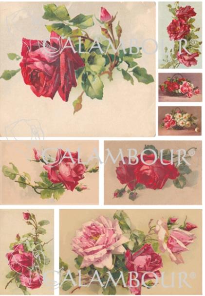 Рисовая бумага для декупажа Calambour DGR152 Чайные розы алые, АртДекупаж