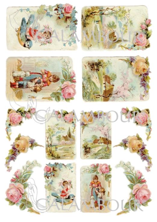 Декупажные карты Calambour  DGE 156, Весенние открытки, розы, купить