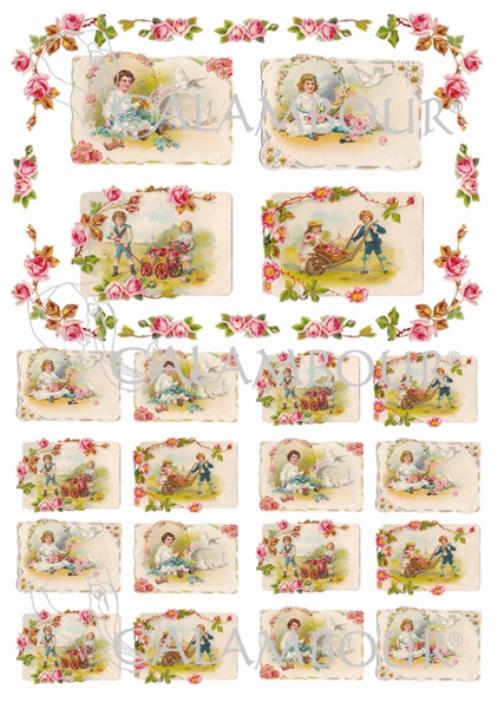 Декупажные карты Calambour DGE 157, Мини открытки Дети и голуби, купить