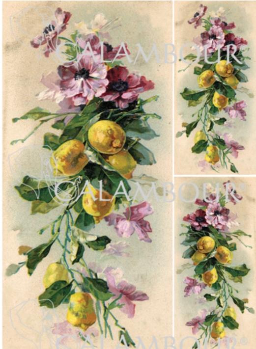 Рисовая бумага для декупажа Calambour DGR 159, Цветы и лимоны, винтаж, купить