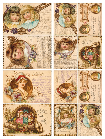 Декупажные карты Calambour DGE 16, Винтажные открытки с куклами, купить