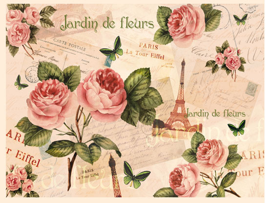 Декупажные карты Calambour DG 19 Париж, розы, купить