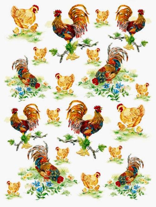 Рисовая бумага для декупажа Calambou DGR 039, Петухи, куры, цыплята, купить - магазин АртДекупаж