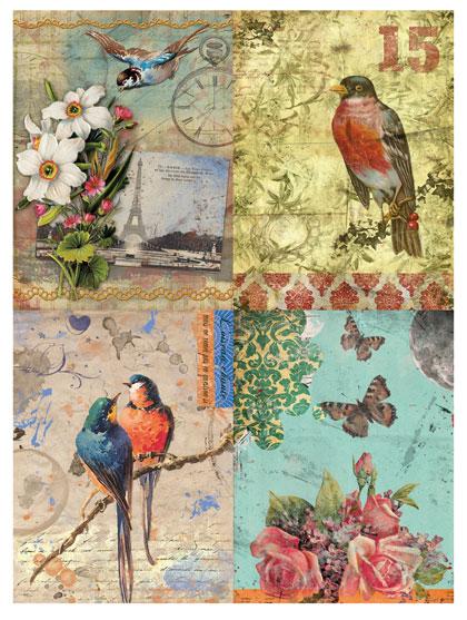 Рисовая бумага для декупажа Calambour DGR 058, Открытки, птицы и цветы, купить - магазин АртДекупаж