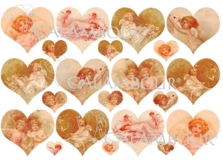 Рисовая бумага для декупажа Calambou DGR 067, Купидоны, ангелы, сердца, купить - магазин АртДекупаж