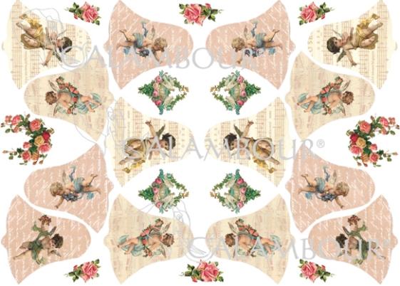 Рисовая бумага для декупажа пасхальная Calambou DGR068 Ангелы и колокольчики, купить - магазин АртДекупаж