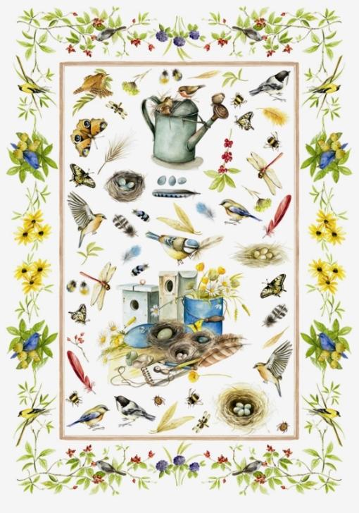 Рисовая бумага для декупажа Calambou DGR 090, Садовая жизнь, акварель,, купить - магазин АртДекупаж