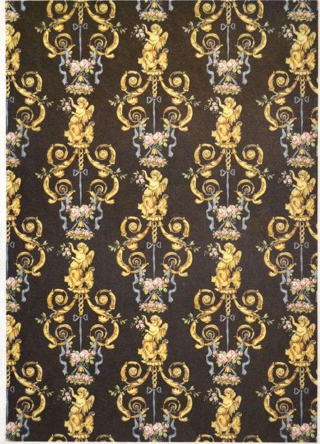 Рисовая бумага для декупажа Calambour EXCR 08, Золотые ангелы на черном, орнамент,