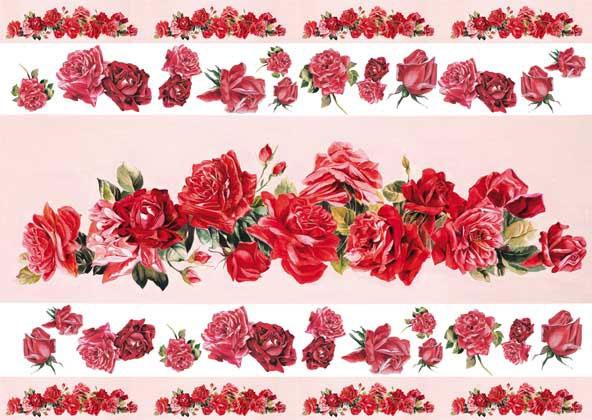Рисовые декупажные карты Calambour EXCR 262, Полосы из красных роз
