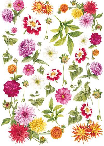 Декупажные карты Calambour Георгины, цветы