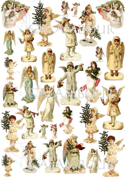 Декупажные карты Винтажные рождественские ангелы, Новый год, Рождество, купить