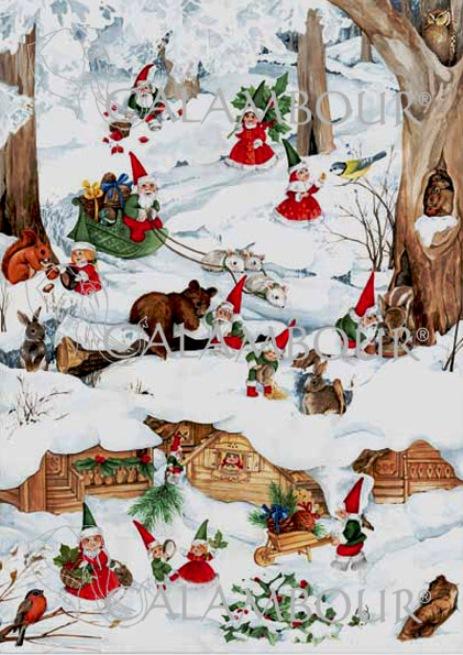 Декупажные карты Рождественские гномы в зимнем лесу, купить