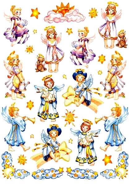 Декупажные карты детские Ангелы играют, Calambour EASY 281, купить - магазин АртДекупаж