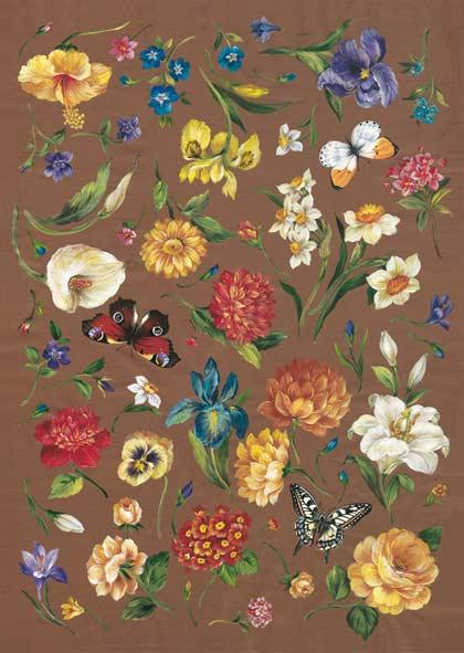Декупажные карты Calambour FIAM 12 Цветы и бабочки, купить