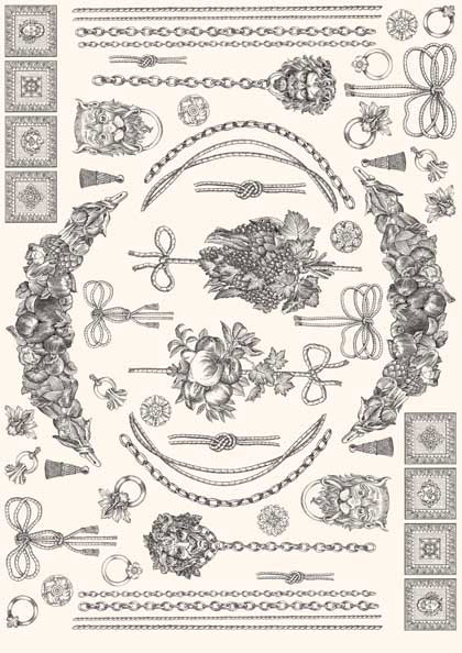 Декупажные карты Гирлянды и цепи, стиль Print Room, купить