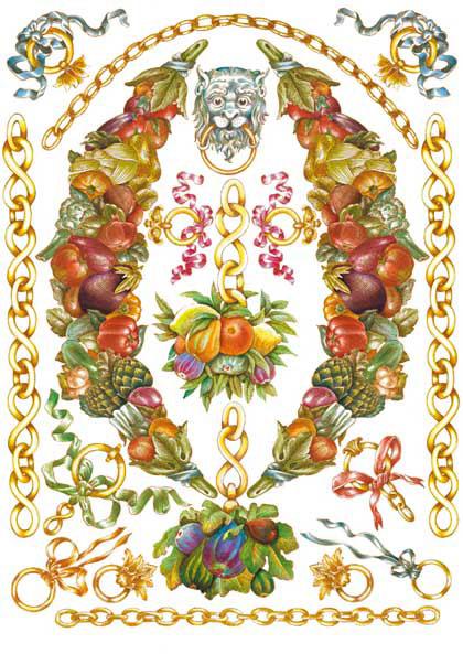 Декупажная карта Calambour PR 32 Цепи и гирлянды из фруктов, стиль Print Room