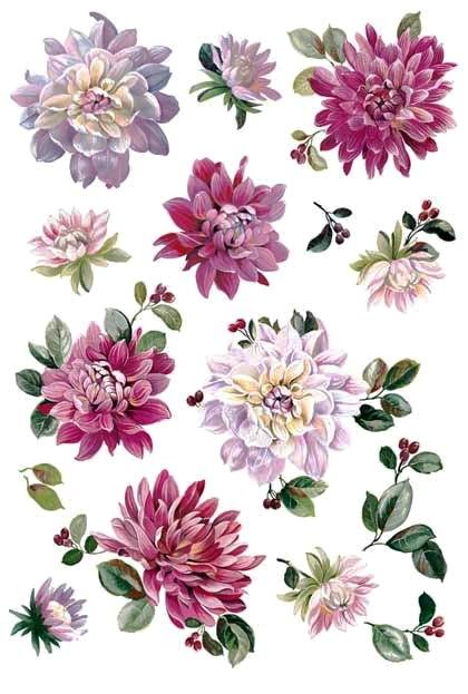 Рисовая бумага для декупажа Calambour, Цветы георгины, акварель, купить - магазин АртДекупаж