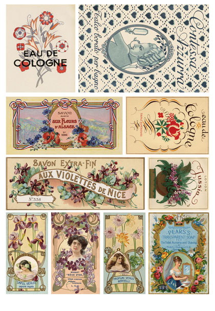 Рисовая бумага для декупажа Calambour Этикетки парфюмерные Art Nouveau