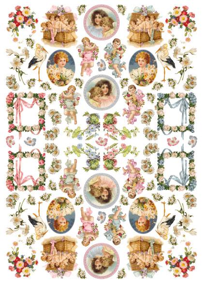 Рисовая бумага для декупажа Calambour Pau 032 винтажные дети и ангелы