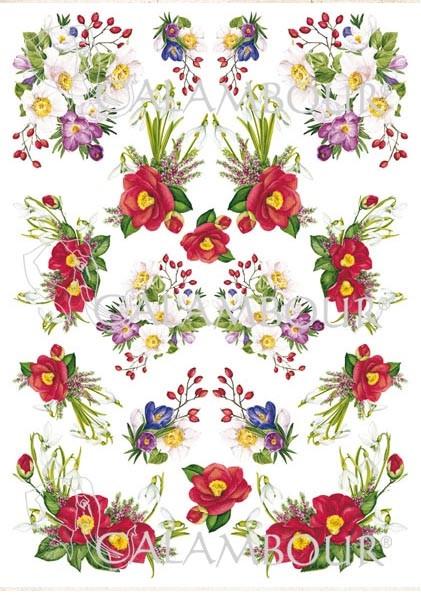Рисовая бумага для декупажа Calambour Весение цветы, купить