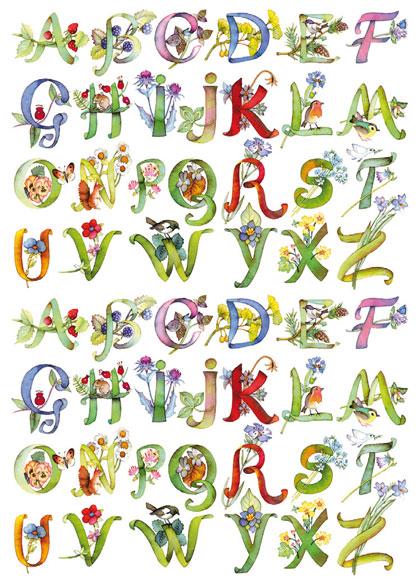Рисовая бумага для декупажа Calambour Pau 045  Алфавит с цветами