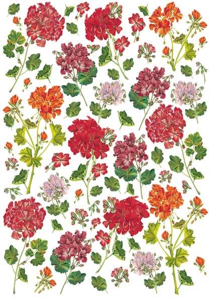Рисовая бумага для декупажа Calambour Pau 053  цветы герань