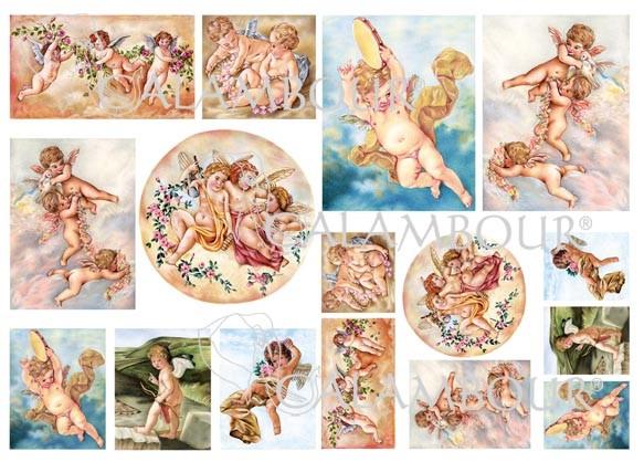 Рисовая бумага для декупажа Calambour Pau 071 Ангелы