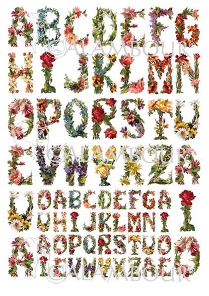 Рисовая бумага для декупажа Calambour, Алфавит  из винтажных цветов магазин АртДекупаж