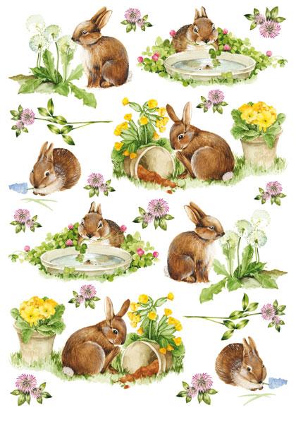Рисовая бумага для декупажа Calambour кролики, белый фон, купить