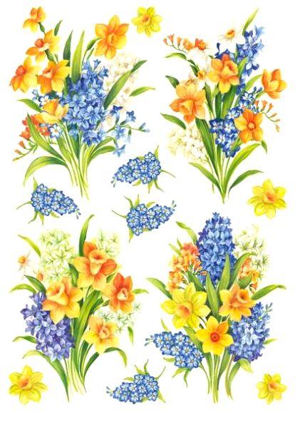 Рисовая бумага для декупажа Каламбур, цветы, весенние букеты, купить