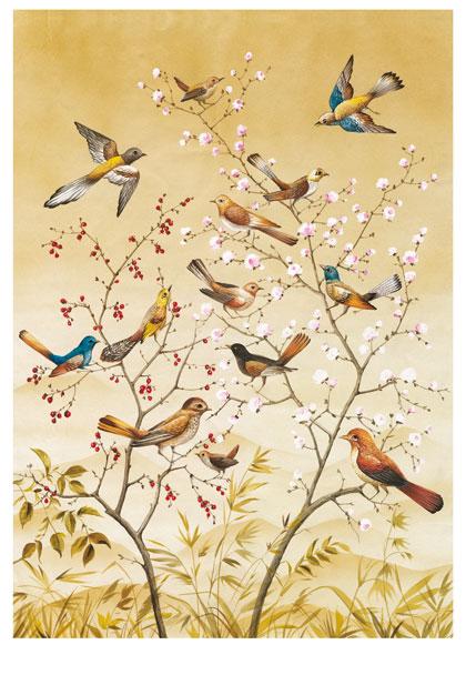 Рисовая бумага для декупажа Дерево и птицы, Calambour