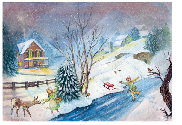 Рисовая бумага для декупажа новогодняя, зимний пейзаж, зима, дети, купить