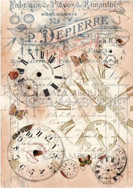 Рисовая бумага для объемного декупажа Calambour Часы микс А4