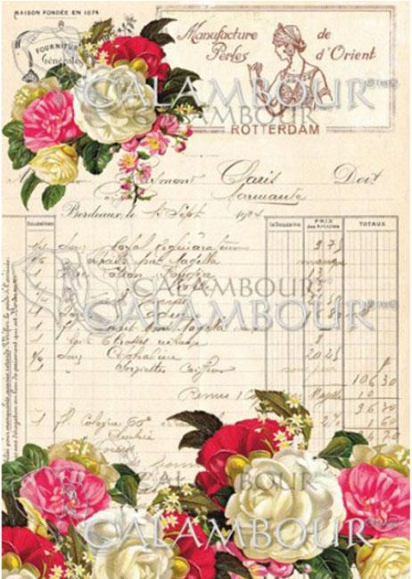 Рисовая бумага для объемного декупажа Calambour Роза и дневник А4