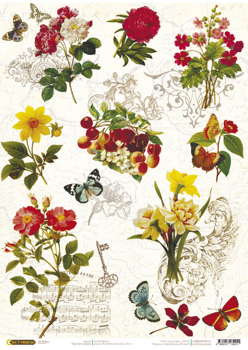 Рисовая бумага для декупажа Craft Premier Бабочки, цветы, формат А4