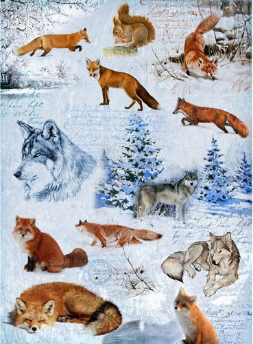Рисовая зимняя бумага для декупажа Зима, волки лисы Craft Premier