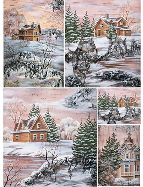 Рисовая новогодняя бумага для декупажа Зимний пейзаж Craft Premier