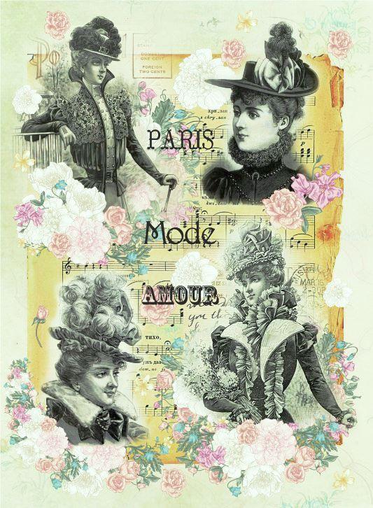 Рисовая бумага для декупажа Парижская мода Craft Premier формат А4