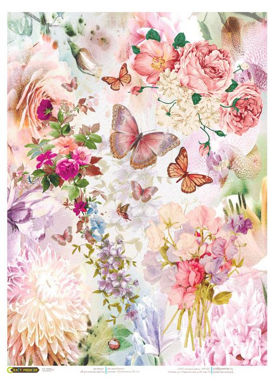 Рисовая бумага для декупажа Розовые цветы и бабочки Craft Premier формат А4