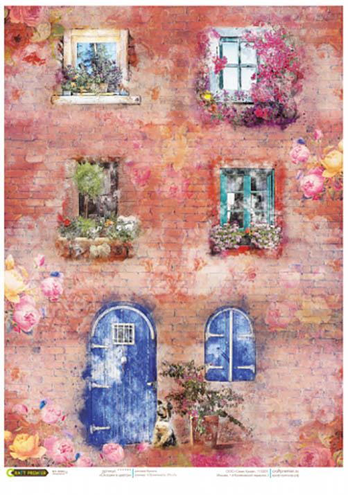 Рисовая бумага для декупажа Окна в цветах Craft Premier